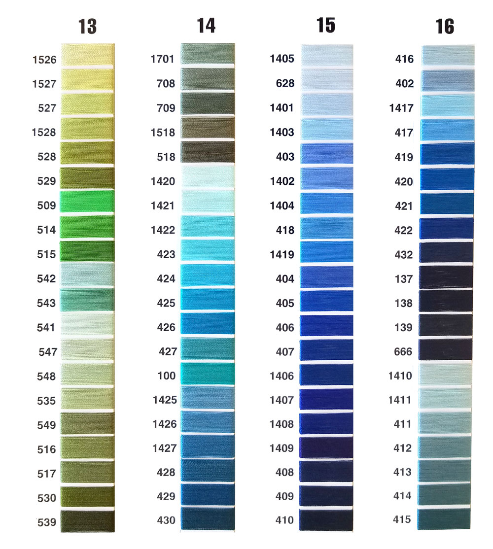 Apparel embroidery thread colors
